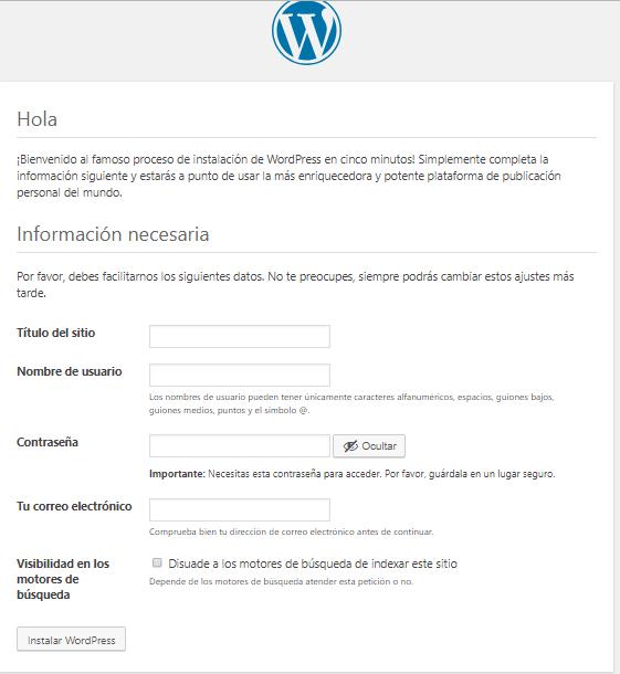 finalizar instalacion de wordpress de forma manual